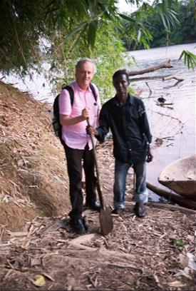 Bill Cope and friend in Sierra Leone