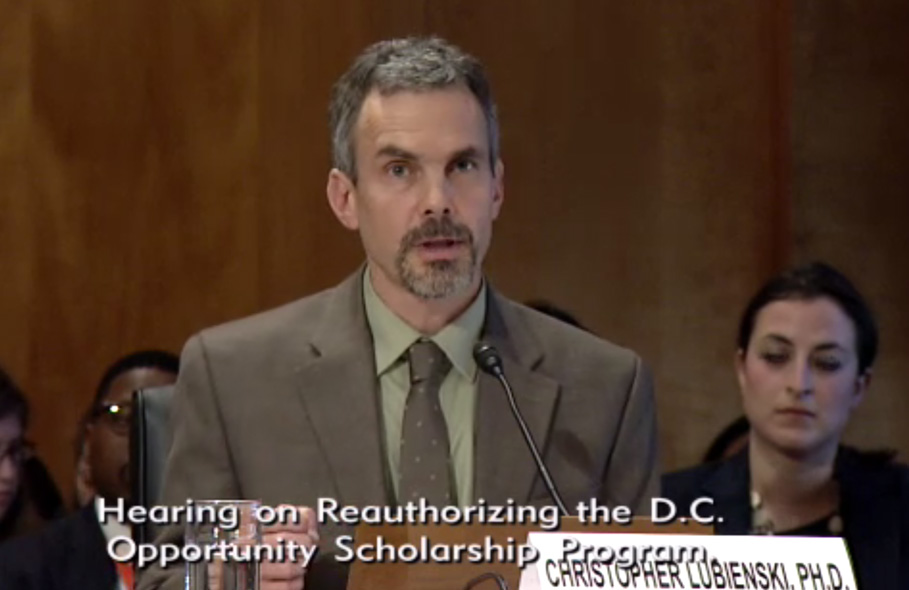 Christopher Lubienski testifies at D.C. hearing
