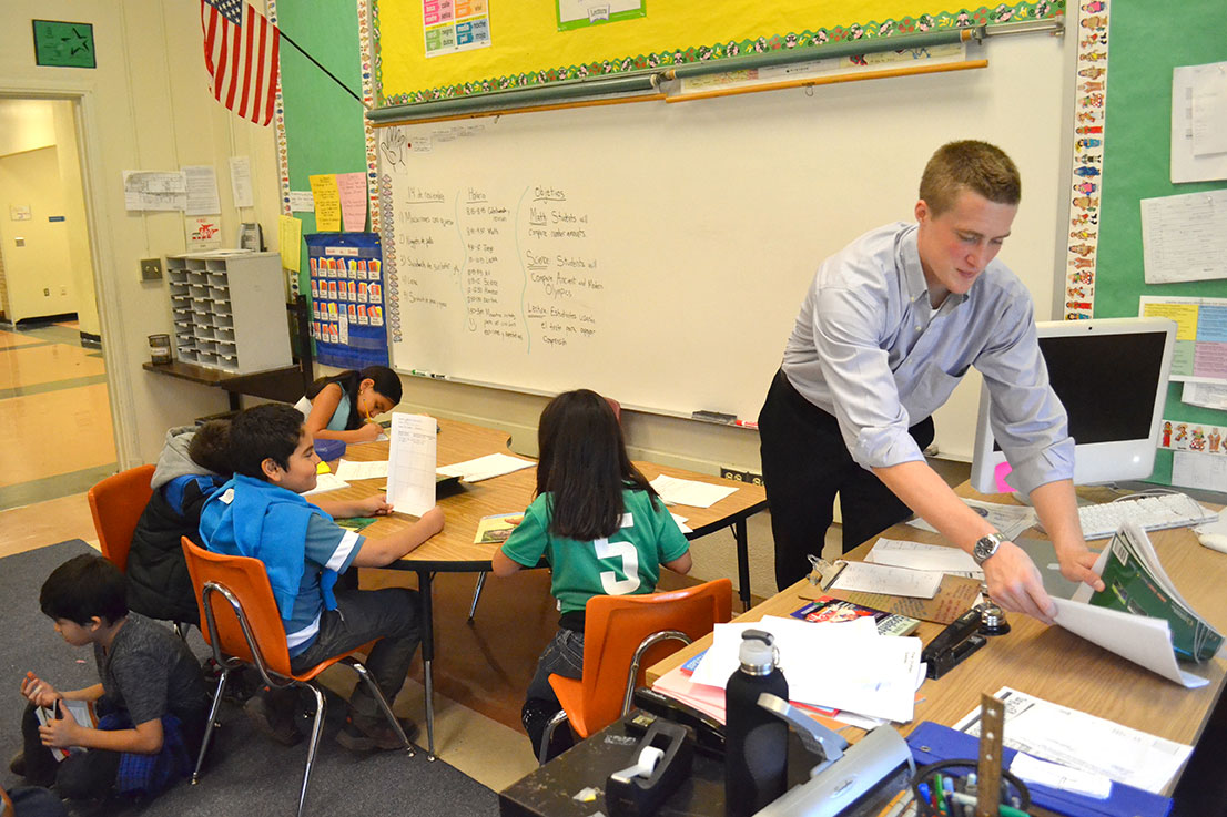 Greg Ballweg in his classroom