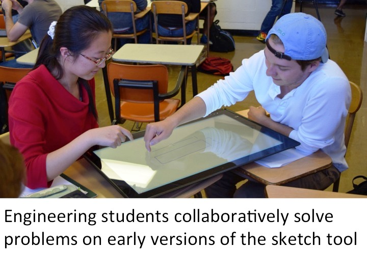 Engineering students collaboratively solve problems on early versions of the sketch tool